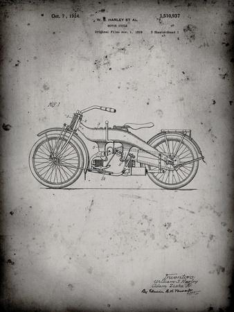 PP194- Faded Grey Harley Davidson Motorcycle 1919 Patent Poster