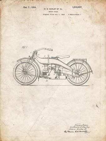 PP194- Vintage Parchment Harley Davidson Motorcycle 1919 Patent Poster