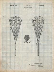 PP199- Antique Grid Parchment Lacrosse Stick 1948 Patent Poster by Cole Borders