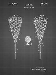 PP199- Black Grid Lacrosse Stick 1948 Patent Poster by Cole Borders