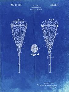 PP199- Faded Blueprint Lacrosse Stick 1948 Patent Poster by Cole Borders