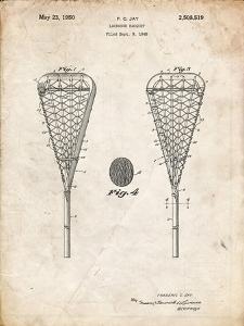 PP199- Vintage Parchment Lacrosse Stick 1948 Patent Poster by Cole Borders