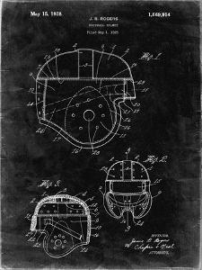 PP218-Black Grunge Football Helmet 1925 Patent Poster by Cole Borders