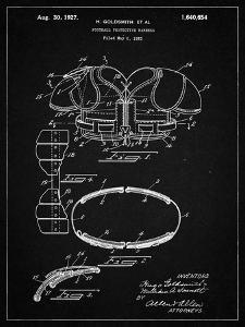 PP219-Vintage Black Football Shoulder Pads 1925 Patent Poster by Cole Borders
