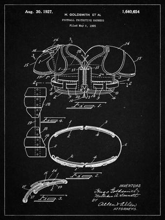PP219-Vintage Black Football Shoulder Pads 1925 Patent Poster