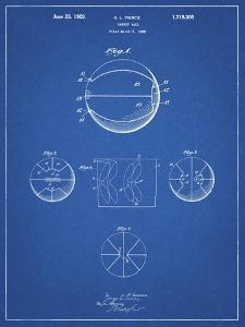 PP222-Blueprint Basketball 1929 Game Ball Patent Poster by Cole Borders