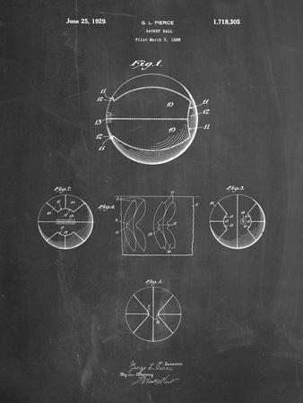 PP222-Chalkboard Basketball 1929 Game Ball Patent Poster