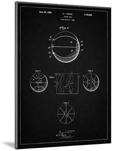 PP222-Vintage Black Basketball 1929 Game Ball Patent Poster by Cole Borders