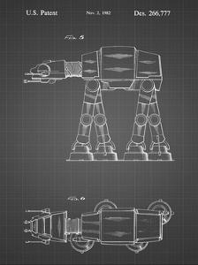 PP224-Black Grid Star Wars AT-AT Imperial Walker Patent Poster by Cole Borders