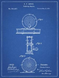PP225-Blueprint Orvis 1874 Fly Fishing Reel Patent Poster by Cole Borders