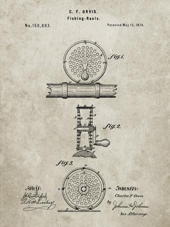 PP225-Sandstone Orvis 1874 Fly Fishing Reel Patent Poster
