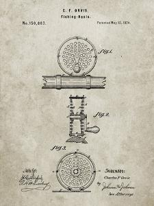 PP225-Sandstone Orvis 1874 Fly Fishing Reel Patent Poster by Cole Borders