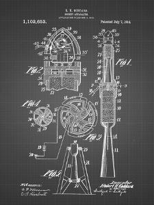 PP230-Black Grid Robert Goddard Rocket Patent Poster by Cole Borders