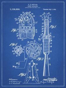 PP230-Blueprint Robert Goddard Rocket Patent Poster by Cole Borders