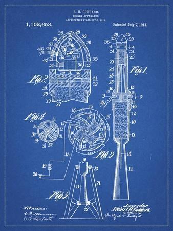 PP230-Blueprint Robert Goddard Rocket Patent Poster