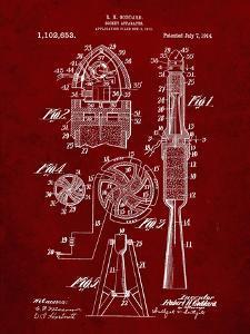 PP230-Burgundy Robert Goddard Rocket Patent Poster by Cole Borders