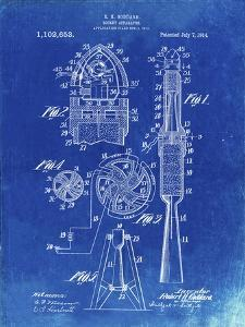 PP230-Faded Blueprint Robert Goddard Rocket Patent Poster by Cole Borders