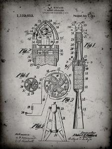 PP230-Faded Grey Robert Goddard Rocket Patent Poster by Cole Borders