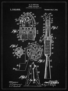 PP230-Vintage Black Robert Goddard Rocket Patent Poster by Cole Borders