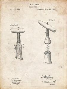 PP235-Vintage Parchment Corkscrew 1883 Patent Poster by Cole Borders