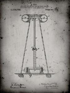 PP241-Faded Grey Tesla Energy Transmitter Patent Poster by Cole Borders