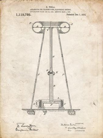 PP241-Vintage Parchment Tesla Energy Transmitter Patent Poster