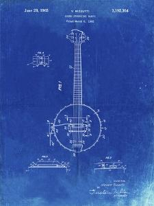 PP242-Faded Blueprint Modern Banjo Patent Poster by Cole Borders