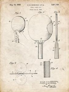 PP250-Vintage Parchment Ping Pong Paddle Patent Poster by Cole Borders