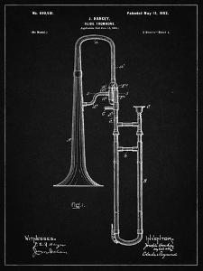 PP261-Vintage Black Slide Trombone Patent Poster by Cole Borders