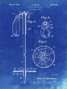 PP270-Faded Blueprint Vintage Ski Pole Patent Poster by Cole Borders