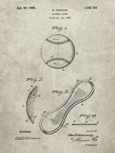 PP271-Sandstone Vintage Baseball 1924 Patent Poster by Cole Borders