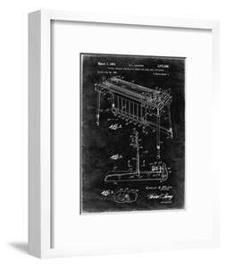 PP281-Black Grunge Fender Pedal Steel Guitar Patent Poster by Cole Borders