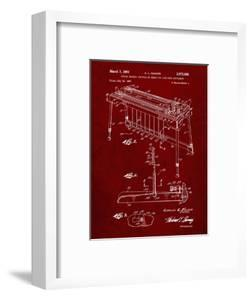 PP281-Burgundy Fender Pedal Steel Guitar Patent Poster by Cole Borders