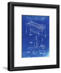 PP281-Faded Blueprint Fender Pedal Steel Guitar Patent Poster by Cole Borders