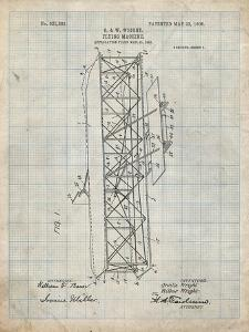 PP288-Antique Grid Parchment Wright Brothers Flying Machine Patent Poster by Cole Borders