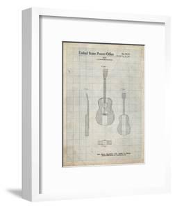 PP306-Antique Grid Parchment Buck Owens American Guitar Patent Poster by Cole Borders