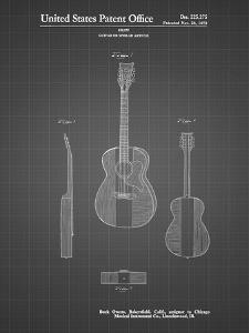 PP306-Black Grid Buck Owens American Guitar Patent Poster by Cole Borders