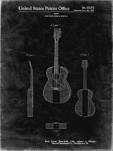PP306-Black Grunge Buck Owens American Guitar Patent Poster by Cole Borders