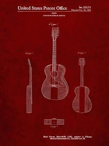 PP306-Burgundy Buck Owens American Guitar Patent Poster by Cole Borders