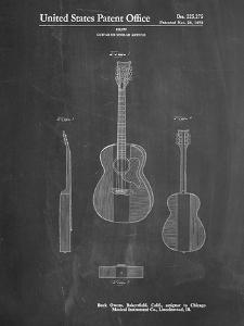 PP306-Chalkboard Buck Owens American Guitar Patent Poster by Cole Borders