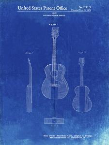 PP306-Faded Blueprint Buck Owens American Guitar Patent Poster by Cole Borders