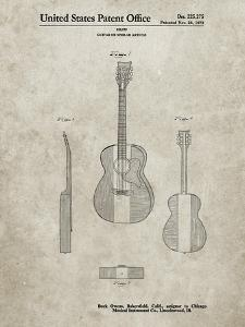 PP306-Sandstone Buck Owens American Guitar Patent Poster by Cole Borders