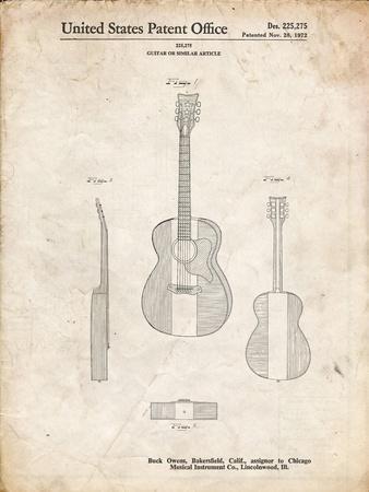 PP306-Vintage Parchment Buck Owens American Guitar Patent Poster