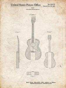 PP306-Vintage Parchment Buck Owens American Guitar Patent Poster by Cole Borders