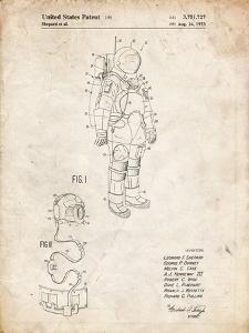 PP309-Vintage Parchment Apollo Space Suit Patent Poster by Cole Borders
