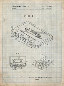 PP319-Antique Grid Parchment Cassette Tape Patent Poster by Cole Borders
