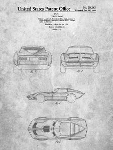PP339-Slate 1966 Corvette Mako Shark II Patent Poster by Cole Borders