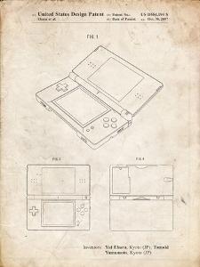 PP346-Vintage Parchment Nintendo DS Patent Poster by Cole Borders