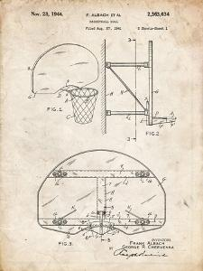 PP381-Vintage Parchment Basketball Goal Patent Print by Cole Borders