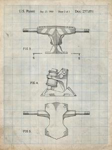 PP385-Antique Grid Parchment Skateboard Trucks Patent Poster by Cole Borders